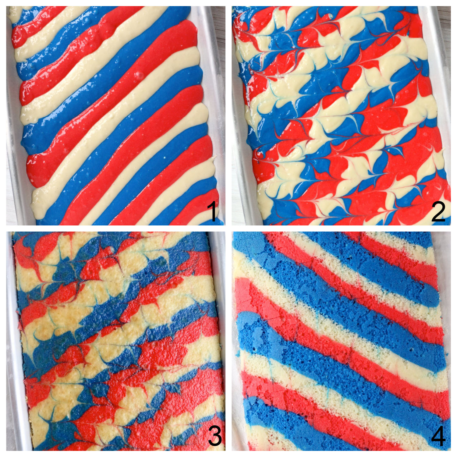 Steps for making a red, white and blue cake roll