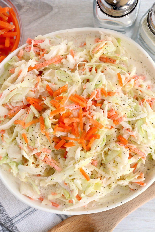 overhead shot of coleslaw in bowl