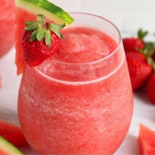 red wine slushie with strawberries and watermelon
