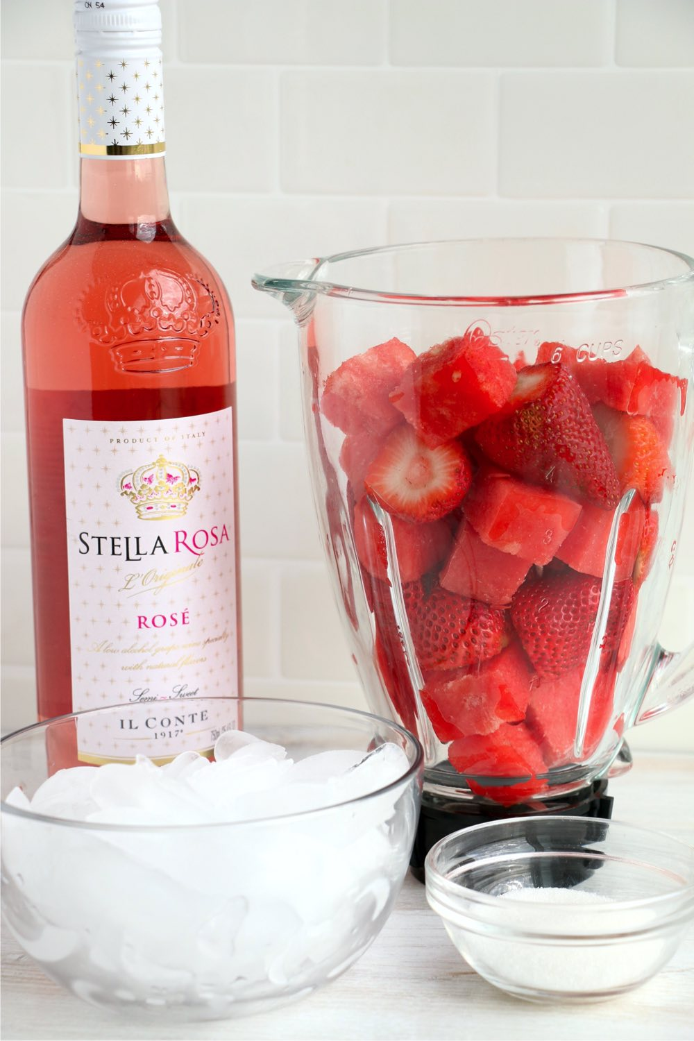 Ingredients for a strawberry and watermelon frose