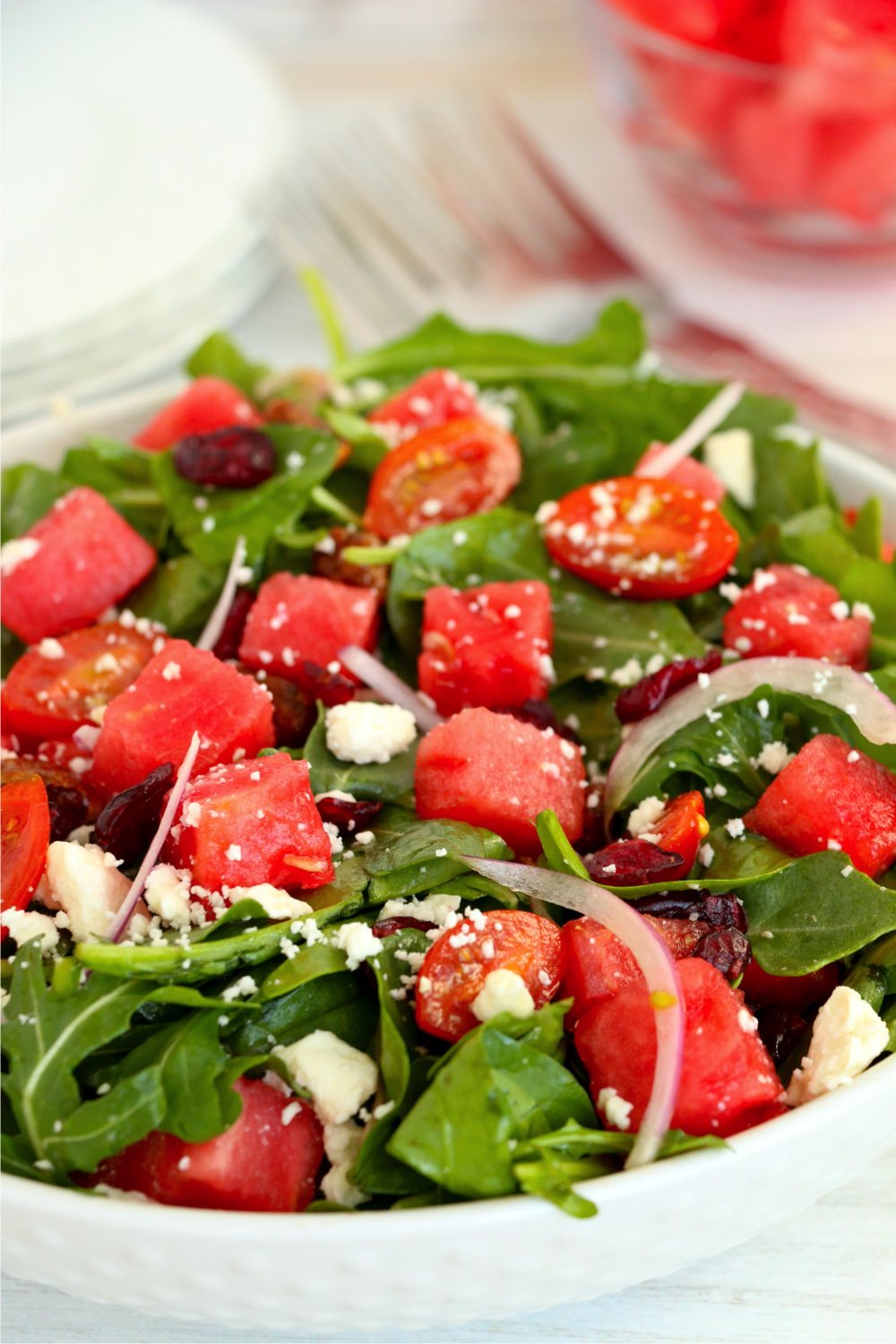 salad with onions, watermelon and feta cheese