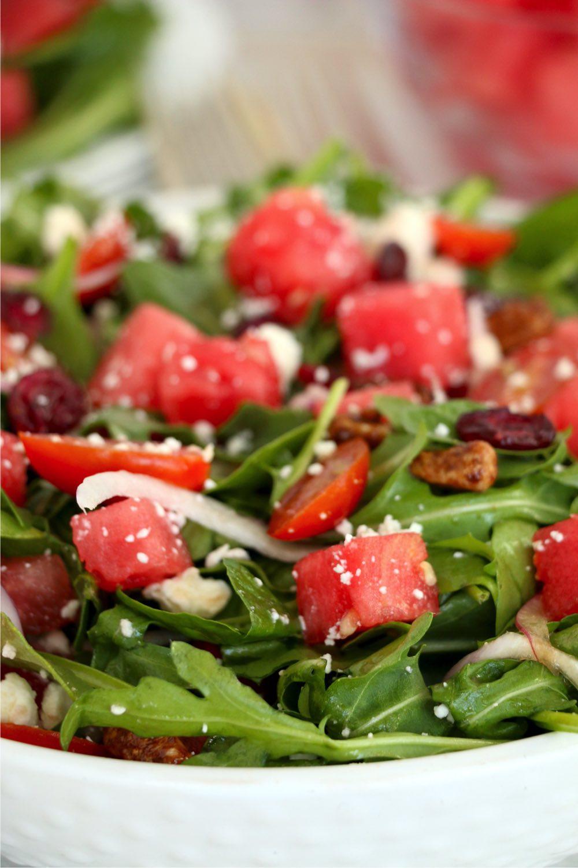 close up shot of watermelon feta salad