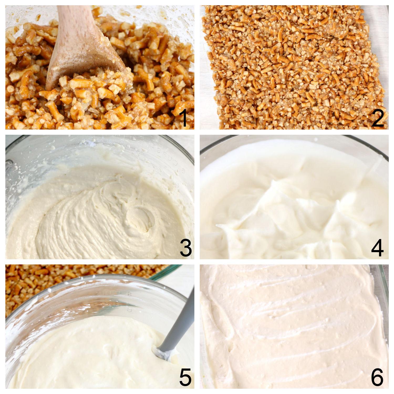 steps for making berry pretzel dessert crust