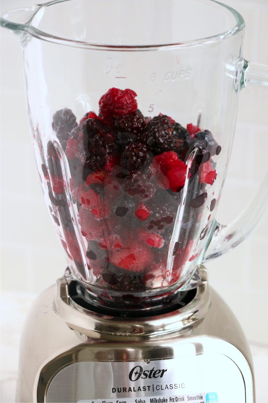 Frozen berries in blender