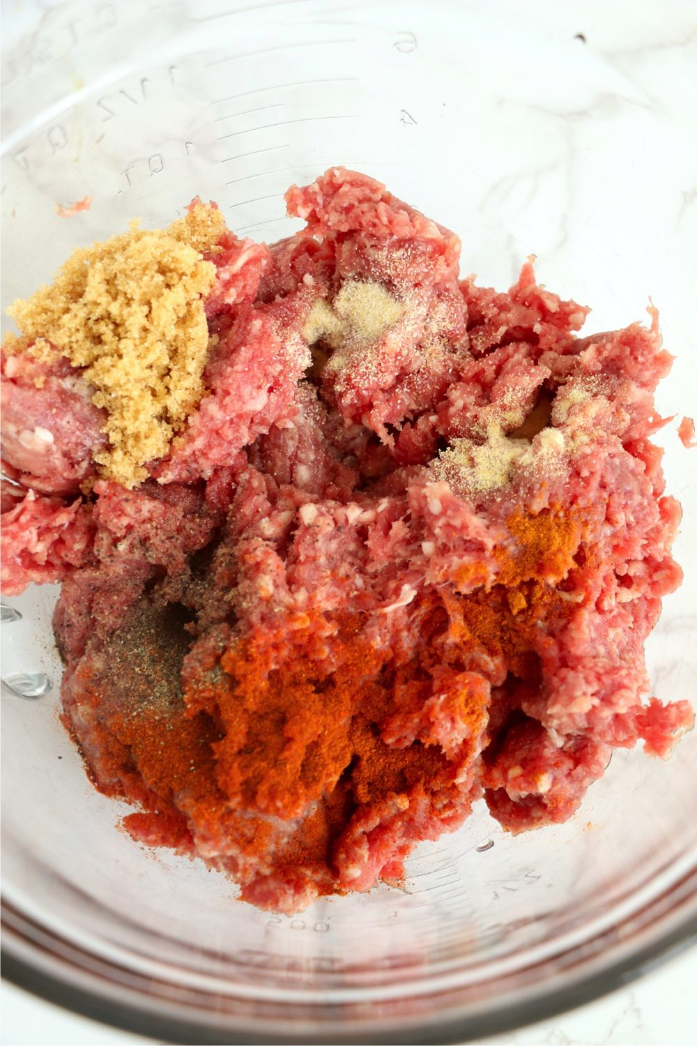 mix of seasonings and ground beef