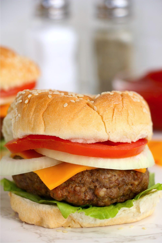 delicious burger made in the Ninja Foodi