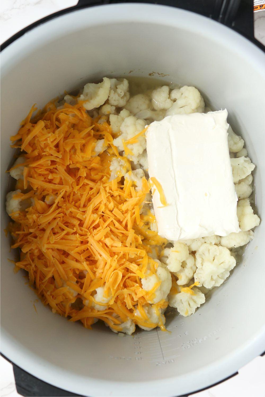 Cauliflower, cheese and cream cheese in Ninja Foodi cooking pot