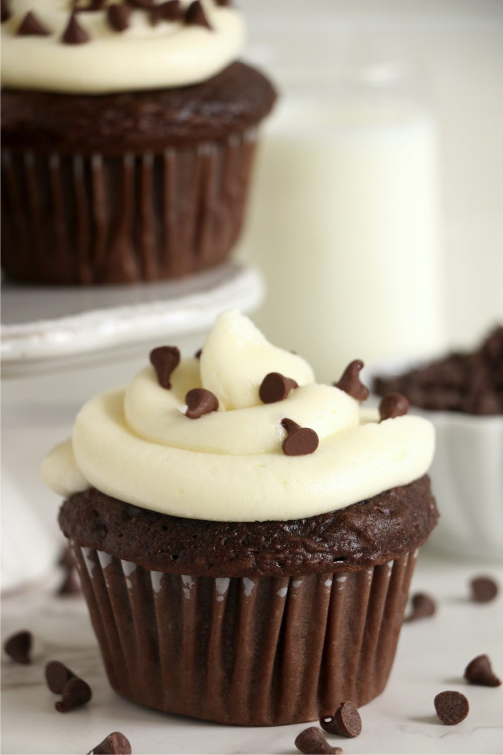 chocolate cupcake with vanilla frosting and chocolate chips